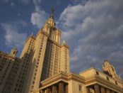 A picture taken in Moscow on May 7, 2016 shows Lomonosov Moscow State University .  / AFP PHOTO / JOEL SAGET