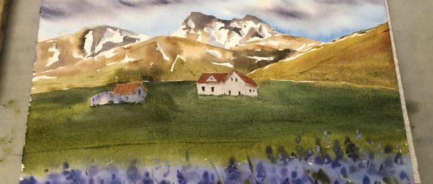 Онлайн-трансляция мастер-класса по акварельной живописи «Путешествие в Исландию» прошла в РЦНК в Праге